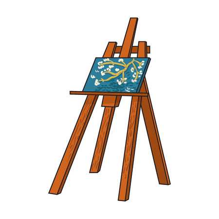 Easel with masterpiece icon in cartoon style isolated on white background. Artist and drawing symbol vector illustration. Illustration