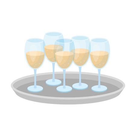 Vassoio con bicchieri di champagne icona nello stile del fumetto isolato su priorità bassa bianca. Illustrazione di vettore di simbolo di servizio di evento.