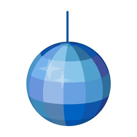 Icona della sfera della discoteca nello stile del fumetto isolata su fondo bianco. Illustrazione di vettore di simbolo di servizio di evento.