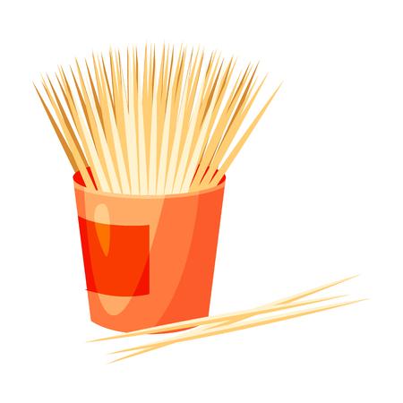Icona di stuzzicadenti nello stile del fumetto isolato su priorità bassa bianca. Illustrazione di vettore di simbolo di cure odontoiatriche.