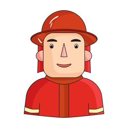 Firefighter icon in cartoon style isolated on white background. People of different profession symbol vector illustration.