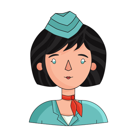 Stewardess icon in cartoon style isolated on white background. People of different profession symbol vector illustration.