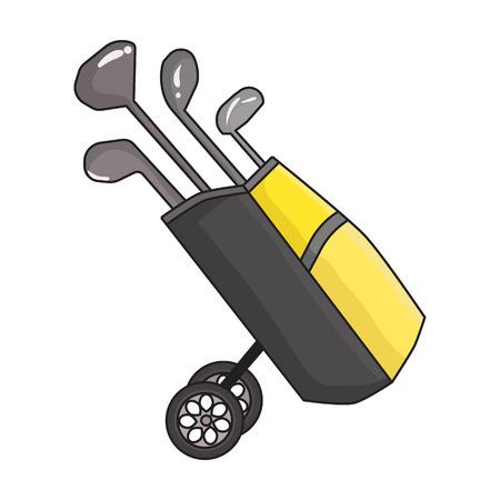 Sac de golf sur des roues avec des clubs icône dans le style de dessin animé isolé sur fond blanc. Club de golf symbole illustration vectorielle. Vecteurs