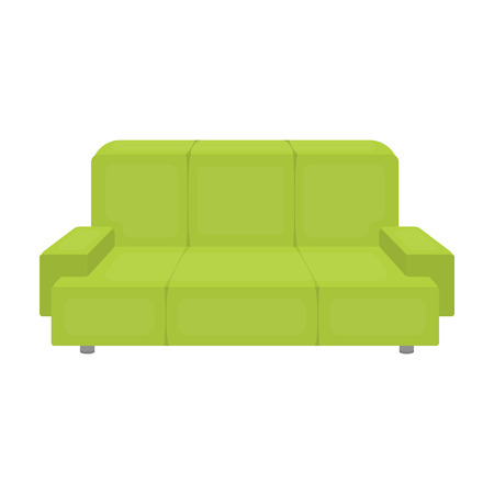 green couch: Green couch icon in cartoon style isolated on white background. Office furniture and interior symbol vector illustration.