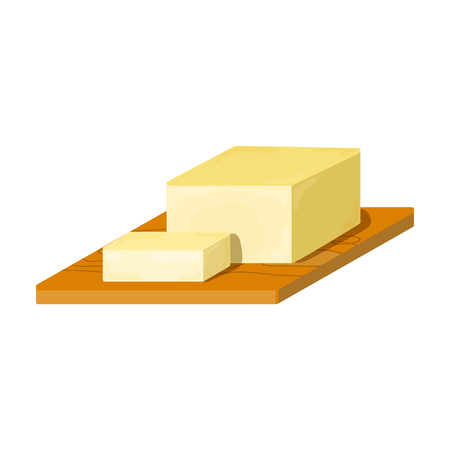 Bar of Butter on cutting board icon in cartoon style isolated on white background. Milk product and sweet symbol vector illustration.