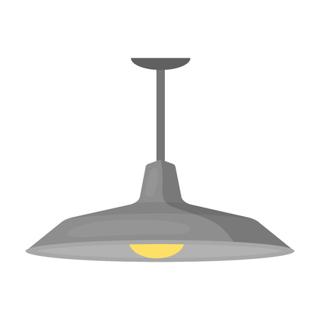 pendant lamp: Pendant light icon in cartoon style isolated on white background. Office furniture and interior symbol vector illustration.
