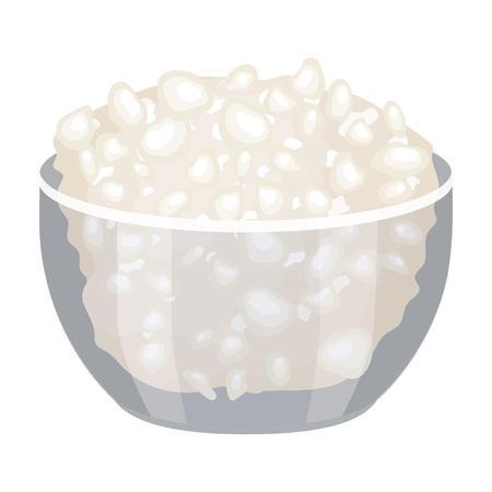 cottage cheese: Cottage cheese in the bowl icon in cartoon style isolated on white background. Milk product and sweet symbol vector illustration. Stock Photo