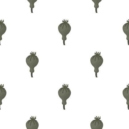 opium poppy: Opium poppy icon in cartoon style isolated on white background. Drugs symbol vector illustration. Illustration