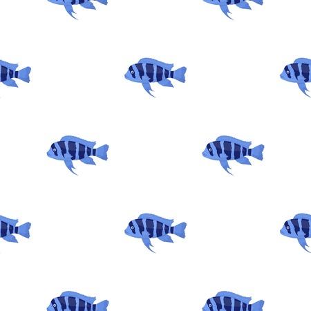 cyphotilapia: Frontosa Cichlid (Cyphotilapia Frontosa) fish icon cartoon. Singe aquarium fish icon from the sea,ocean life cartoon. Illustration