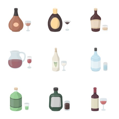 ajenjo: Alcohol set icons in cartoon style. Big collection of alcohol vector symbol stock