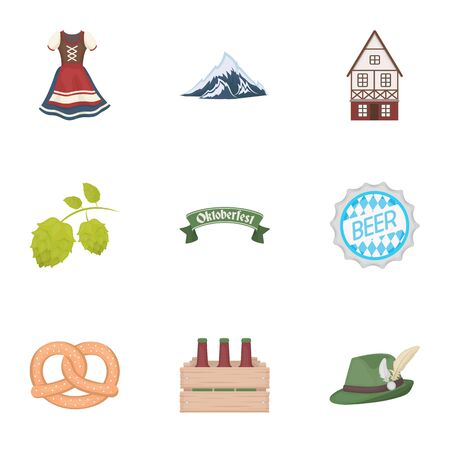 alps: Oktoberfest set icons in cartoon style. Big collection of Oktoberfest vector symbol stock