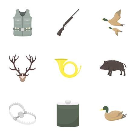 hip flask: Hunting set icons in cartoon style. Big collection of hunting vector symbol stock