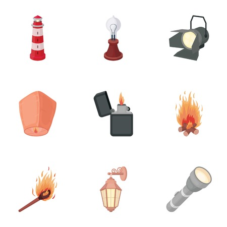source: Light source set icons in cartoon style. Big collection of light source vector symbol stock Illustration