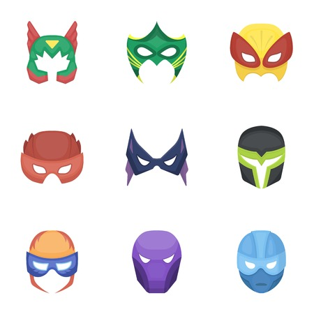 superheros: Superhero mask set icons in cartoon style. Big collection of superhero mask vector symbol stock