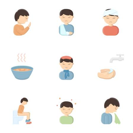 Sick set icons in cartoon style. Big collection io sick vector symbol stock