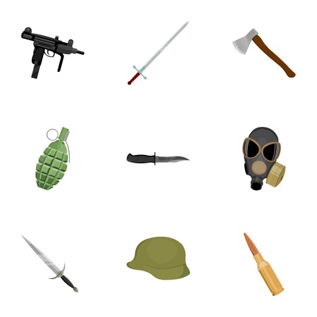 Weapon set icons in cartoon style. Big collection of weapon vector symbol stock Illustration