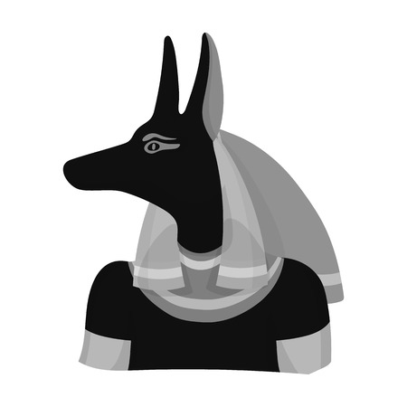 Anubis icon in monochrome style isolated on white background. Ancient Egypt symbol vector illustration. Illustration