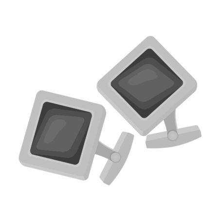 cuff link: Cufflinks icon in monochrome style isolated on white background. Jewelry and accessories symbol vector illustration.