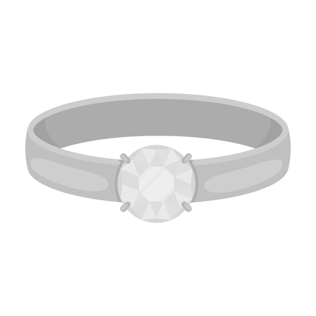 Ring with diamond icon in monochrome style isolated on white background. Jewelry and accessories symbol vector illustration.