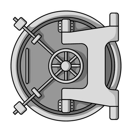 Bankkluis icoon in zwart-wit stijl op een witte achtergrond. Geld en financiën symbool vector illustratie.