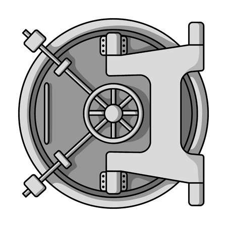 Bank vault icon in monochrome style isolated on white background. Money and finance symbol vector illustration. Vettoriali