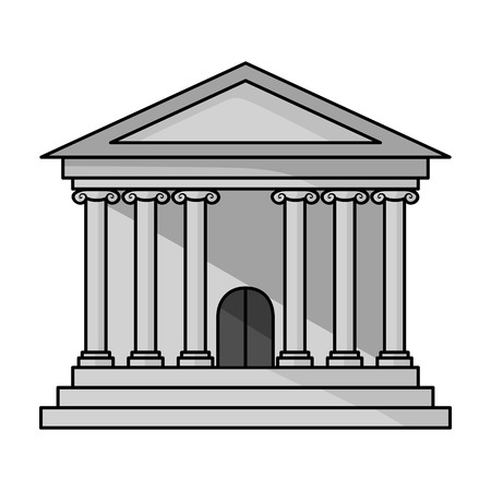 derecho romano: Bank icon in monochrome style isolated on white background. Money and finance symbol vector illustration. Vectores