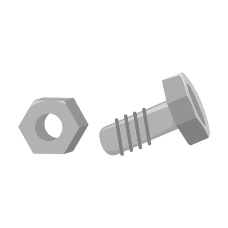 structural: Structural bolt and hex nut icon in monochrome style isolated on white background. Build and repair symbol vector illustration. Illustration