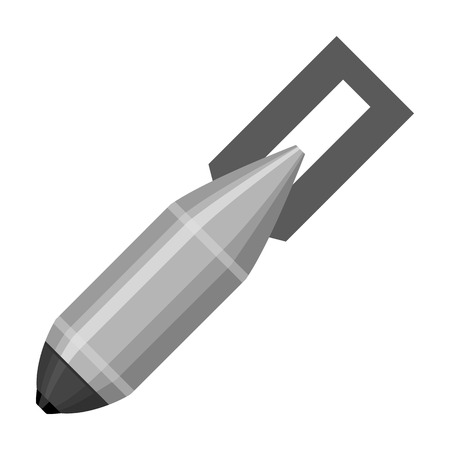 nuke: Military aerial bomb icon in monochrome style isolated on white background. Military and army symbol vector illustration