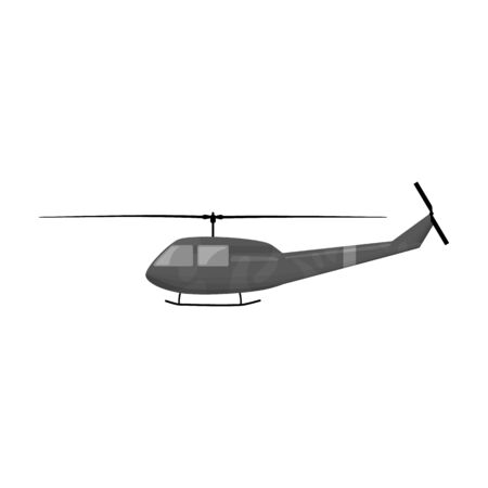 Military helicopter icon in monochrome style isolated on white background. Military and army symbol vector illustration