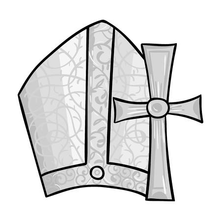 simboli del Vaticano icona di stile in bianco e nero isolato su sfondo bianco. Italia paese simbolo illustrazione vettoriale. Vettoriali
