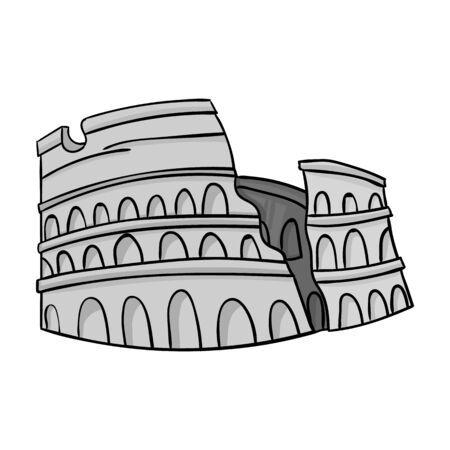 flavian: Colosseum in Italy icon in monochrome style isolated on white background. Italy country symbol vector illustration.