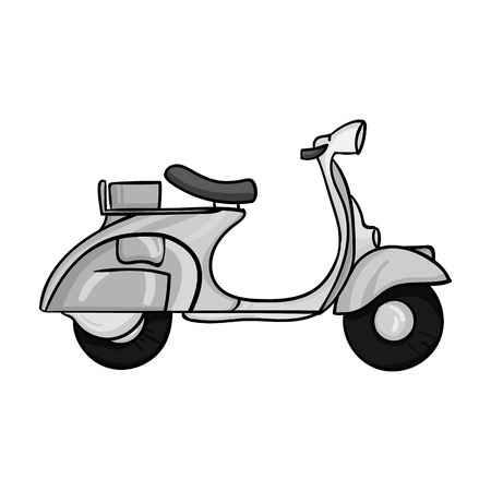 Italian scooter icon in monochrome style isolated on white background. Italy country symbol vector illustration.