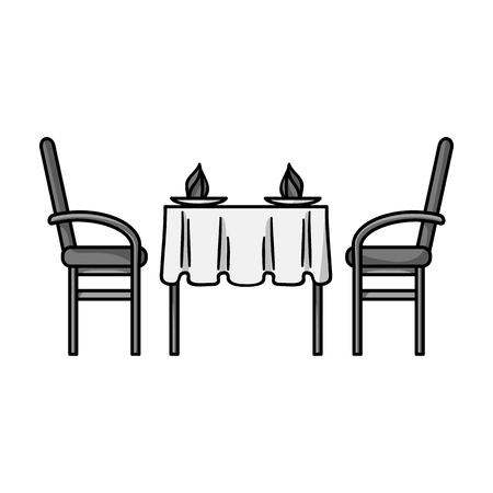 Restaurante icono de la tabla en el estilo blanco y negro sobre fondo blanco. Restaurante símbolo de la ilustración del vector.