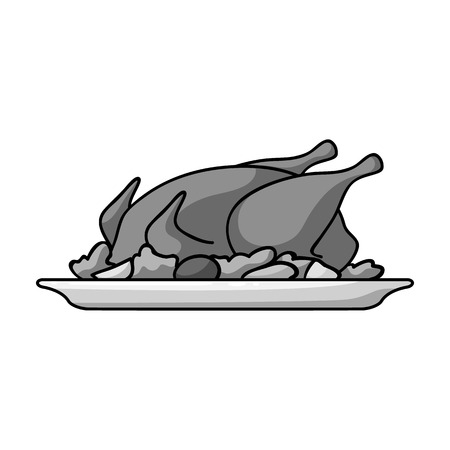 cooked meat: Roasted chicken with garnish icon in monochrome style isolated on white background. Restaurant symbol vector illustration.