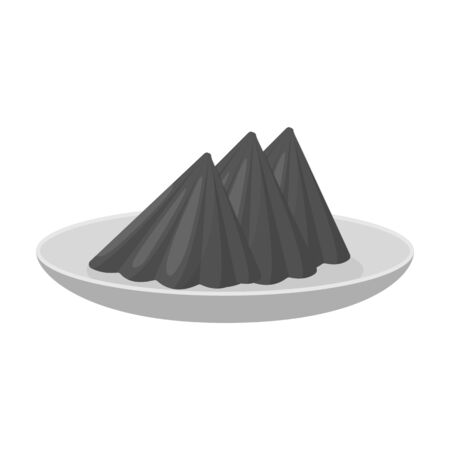 napkins: Folded napkins on the plate icon in monochrome style isolated on white background. Event service symbol vector illustration. Illustration