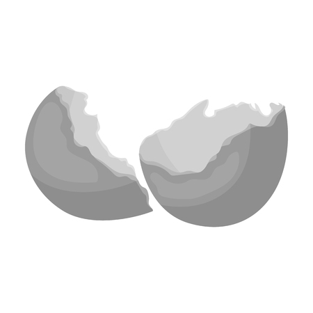 Broken eggshell icon in monochrome style isolated on white background. Trash and garbage symbol vector illustration. Иллюстрация