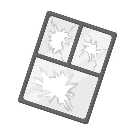 Gebroken raam icoon in zwart-wit stijl op een witte achtergrond. Vuilnis en afval symbool vector illustratie.