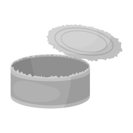 metal monochrome: Opened metal tin can icon in monochrome style isolated on white background. Trash and garbage symbol vector illustration. Illustration