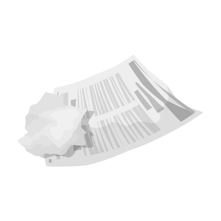 wasted: Crumpled paper icon in monochrome style isolated on white background. Trash and garbage symbol vector illustration.