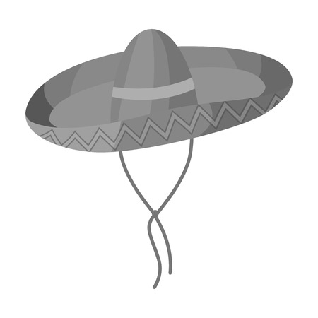 Mexican sombrero icon in monochrome style isolated on white background. Mexico country symbol vector illustration.
