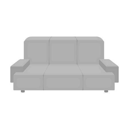 green couch: Green couch icon in monochrome style isolated on white background. Office furniture and interior symbol vector illustration.