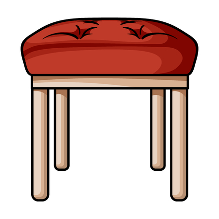 Stool icon in cartoon style isolated on white background. Furniture and home interior symbol vector illustration.