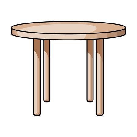muebles de madera: Icono de madera mesa redonda en el estilo de dibujos animados aislado en el fondo blanco. Los muebles y el hogar del símbolo ilustración stock de vectores. Vectores