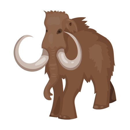 woolly: Woolly mammoth icon in cartoon style isolated on white background. Stone age symbol vector illustration.