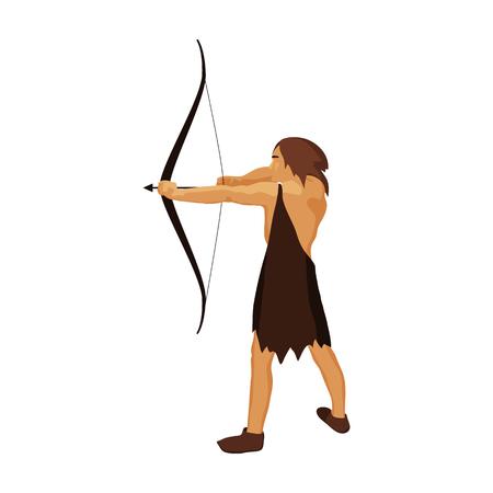Caveman con arco e freccia in stile cartone animato isolato su sfondo bianco. età della pietra simbolo illustrazione vettoriale.