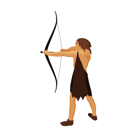 Caveman with bow and arrow icon in cartoon style isolated on white background. Stone age symbol vector illustration.
