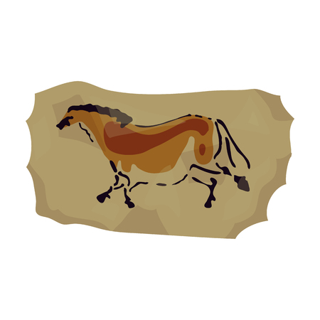 Cave painting icon in cartoon style isolated on white background. Stone age symbol vector illustration. Иллюстрация