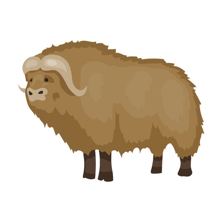Muskox of stone age icon in cartoon style isolated on white background. Stone age symbol vector illustration.