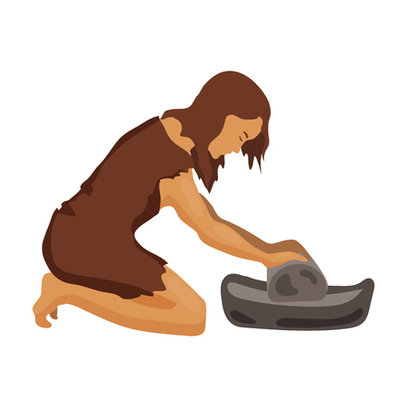 grind: Cavewoman with grindstone icon in cartoon style isolated on white background. Stone age symbol vector illustration. Illustration