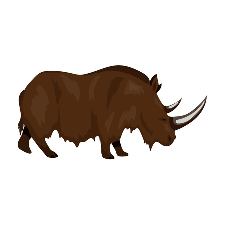 woolly: Woolly rhinoceros icon in cartoon style isolated on white background. Stone age symbol vector illustration.